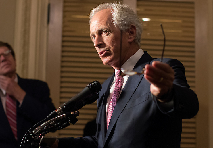 UNITED STATES - JULY 16: Senate Foreign Relations Committee Chairman Sen. Bob Corker, R-Tenn., speaks to the media following a meeting with Vice President Joe Biden and other committee members to discuss the nuclear agreement with Iran on Capitol Hill in Washington, Thursday, July 16, 2015. (Photo By Al Drago/CQ Roll Call)