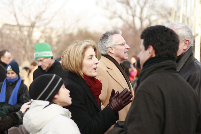 Caroline Kennedy speaks to spectators who have gathered for the inauguration of Barack Obama as 44th President of the United States of America, Jan. 10, 2009, in Washington, D.C. (Marisa McGrody/pressphotointl.com)