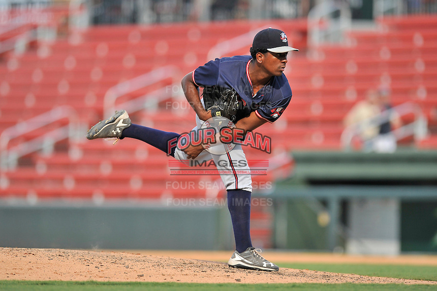 Pitcher Oriel Caicedo (30) of the Rome Braves delivers a pitch in a game against the Greenville Drive on Sunday, July 31, 2016, at Fluor Field at the West End in Greenville, South Carolina. Rome won, 6-3. (Tom Priddy/Four Seam Images)