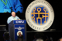 7-5-2014: CWU Conference Killarney REPRO FREE:<br /> The President of the Communications Workers&rsquo; Union (CWU), Cormac O&rsquo;Dalaigh, has told the union&rsquo;s Biennial Conference in Killarney, Co. Kerry that communications workers will not accept calls for tax cuts as a substitute for pay rises. He said the CWU is targeting pay &lsquo;across-the-board&rsquo; rises of 6% for workers in the postal courier, telecom, call centre and eCommunications sectors.<br /> The CWU has called on the Fine Gael/Labour coalition to deliver on its commitment to recognise in law the rights of workers to representation in the workplace through their union. <br /> Mr O&rsquo;Dalaigh told delegates that ordinary workers &ndash; who have not received wage increases since the banker and corporate greed-led financial implosion of 2008 - would not be fooled by moves dictated by right wing orthodoxy that invariably favours the wealthy.<br /> Photo shows Cormac O'Dalaigh, President, Communications Workers Union delivering his address to delegates at their biennial conference in Killarney on Wednesday.<br /> Picture by Don MacMonagle<br /> <br /> <br /> PR PHOTO FROM CWU<br /> FURTHER INFO PRESS OFFICER DEREK CUNNINGHAM 0862430535