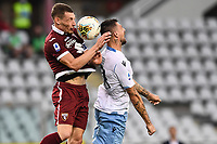 Andrea Belotti of Torino FC  and Francesco Acerbi of SS Lazio compete for the ball during the Serie A football match between Torino FC and SS Lazio at stadio Olimpico in Turin ( Italy ), June 30th, 2020. Play resumes behind closed doors following the outbreak of the coronavirus disease. <br /> Photo Image Sport / Insidefoto