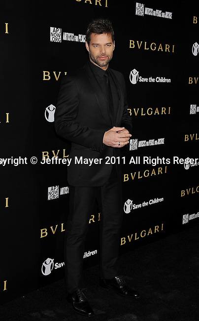 LOS ANGELES, CA - January 13: Ricky Martin attends Save The Children's U.S. Programs And Artists For Peace And Justice Hosted By Bulgari at Ron Burkle's Green Acres Estate on January 13, 2011 in Beverly Hills, California.