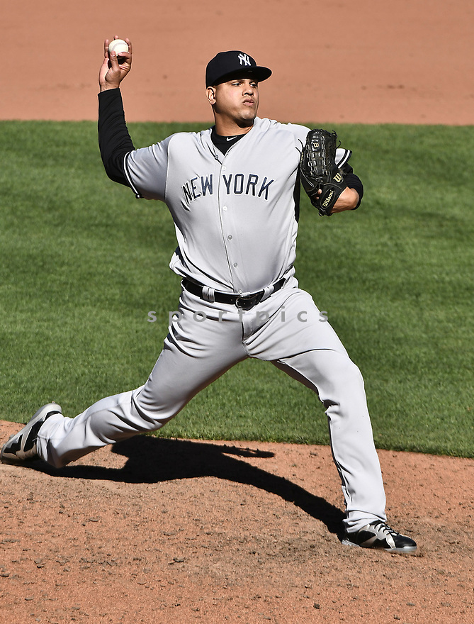 BALTIMORE, MD - April 9, 2017: Dellin Betances #68 of the New York Yankees during a game against the Baltimore Orioles on April 9 2017 at Camden Yards in Baltimore, MD. The Yankees beat the Orioles 7-3.-(Chris Bernacchi/SportPics)