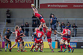 24th March 2018, AJ Bell Stadium, Salford, England; Aviva Premiership rugby, Sale Sharks versus Worcester Warriors; Will Spencer of Worcester Warriors wins a line out