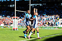 Aaron Cruden of Montpellier celebrates his try with Jim Nagusa of Montpellier  during the Top 14 match between Lyon and Montpellier on June 1, 2019 in Lyon, France. (Photo by Alexandre Dimou/Icon Sport)