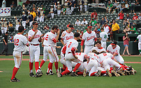 NWA Democrat-Gazette/ANDY SHUPE<br /> Greenland Harding Academy Friday, May 19, 2017, during the Class 3A state championship game at Baum Stadium in Fayetteville. Visit nwadg.com/photos to see more photographs from the game.