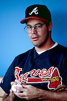 Greg Maddux of the Atlanta Braves during a game at Dodger Stadium in Los Angeles, California during the 1997 season.(Larry Goren/Four Seam Images)