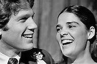 January 1970, New York City.  American actors Ryan O'Neal and Ali MacGraw during the wedding scene on the movie set of the film Love Story. O'Neal starred as Oliver Barrett IV and MacGraw as Jennifer Cavilerri in the romance written by Erich Segal and directed by Arthur Hiller.