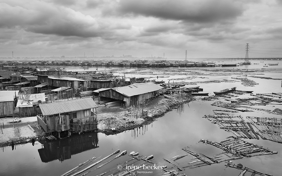 A fishing village settlement  built on stilts above Lagos Lagoon in Nigeria.