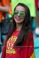 A Spain supporter looks on before kick off