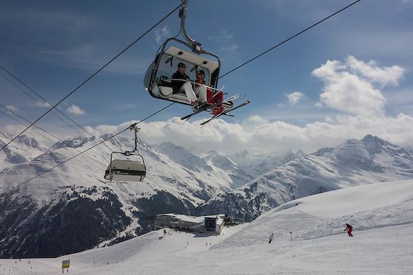 Osthang Chairlift above, Kandahar Restaurant behind, St Anton Ski Area, Austria,