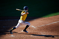 Michigan Wolverines third baseman Jimmy Kerr (15) hits a single during a game against Army West Point on February 17, 2018 at Tradition Field in St. Lucie, Florida.  Army defeated Michigan 4-3.  (Mike Janes/Four Seam Images)