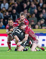 Picture by Allan McKenzie/SWpix.com - 08/09/2017 - Rugby League - Betfred Super League - The Super 8's - Hull FC v Wigan Warriors - KC Stadium, Kingston upon Hull, England - Hull FC's Mark Minichiello is brought down by Wigan's Thomas Leuluai, Sean O'Loughlin & John Bateman.