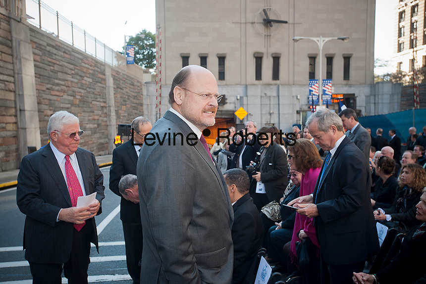 "MTA Chairman Joseph Lhota, center, at the Brooklyn Battery Tunnel in New York for the renaming ceremony to turn it into the Hugh L. Carey Tunnel on Monday, October 22, 2012 after the late NYS Governor Carey who served from 1975 to 1982. Carey was responsible for seeing New York City out its fiscal crisis in the 70's as well as starting the iconic ""I (heart) New York"" promotional program. Carey died in 2011 at the age of 92. (© Richard B. Levine)"