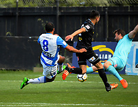Paul Ifill beats Scott Basalaj to score during the ISPS Handa Premiership football match between Team Wellington and Tasman United at David Farrington Park in Wellington, New Zealand on Sunday, 12 November 2017. Photo: Dave Lintott / lintottphoto.co.nz
