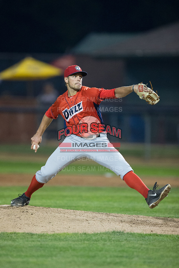 Orem Owlz relief pitcher Isaac Mattson (34) in action against the Helena Brewers at Kindrick Legion Field on August 17, 2017 in Helena, Montana.  The Owlz defeated the Brewers 5-2.  (Brian Westerholt/Four Seam Images)