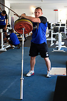 Sam Underhill of Bath Rugby in the gym. Bath Rugby pre-season training on July 2, 2018 at Farleigh House in Bath, England. Photo by: Patrick Khachfe / Onside Images
