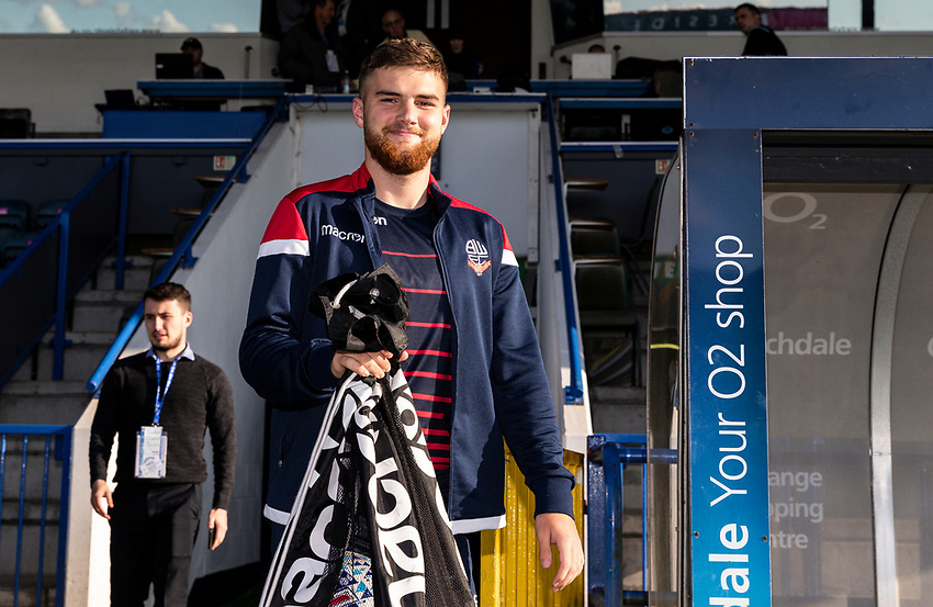 Bolton Wanderers' Sonny Graham goes out to inspect the pitch before the match<br /> <br /> Photographer Andrew Kearns/CameraSport<br /> <br /> The Carabao Cup First Round - Rochdale v Bolton Wanderers - Tuesday 13th August 2019 - Spotland Stadium - Rochdale<br />  <br /> World Copyright © 2019 CameraSport. All rights reserved. 43 Linden Ave. Countesthorpe. Leicester. England. LE8 5PG - Tel: +44 (0) 116 277 4147 - admin@camerasport.com - www.camerasport.com