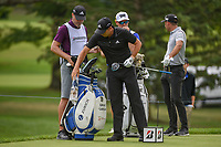 Sergio Garcia (ESP) and his brother/caddie discuss the tee shot on 3 during 1st round of the World Golf Championships - Bridgestone Invitational, at the Firestone Country Club, Akron, Ohio. 8/2/2018.<br /> Picture: Golffile | Ken Murray<br /> <br /> <br /> All photo usage must carry mandatory copyright credit (&copy; Golffile | Ken Murray)