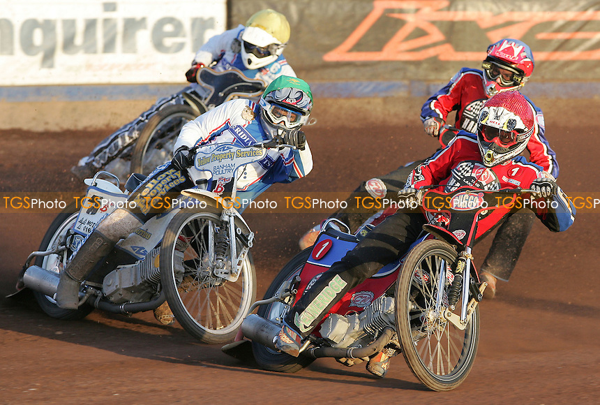 Heat 6 - Adam Shields (Red), Kevin Doolan (Green), Henning Bager (Blue) and Andy Smith (Yellow) - Lakeside Hammers vs Reading Bulldogs at The Arena Essex Raceway, Thurrock - 20/06/07 - MANDATORY CREDIT: Rob Newell/TGSPHOTO