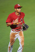 Palm Beach Cardinals center fielder Oscar Mercado (21) jogs to the dugout during a game against the Bradenton Marauders on August 9, 2016 at McKechnie Field in Bradenton, Florida.  Bradenton defeated Palm Beach 8-7.  (Mike Janes/Four Seam Images)