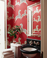 The powder room's red wallpaper with a zebra motif is by Scalamandre. The mirrored medicine cabinet is hung above a granite sink.