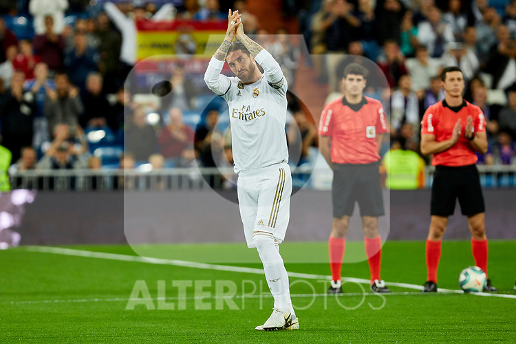 Sergio Ramos of Real Madrid during La Liga match between Real Madrid and CD Leganes at Santiago Bernabeu Stadium in Madrid, Spain. October 30, 2019. (ALTERPHOTOS/A. Perez Meca)