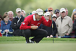 Padraig Harrington lines up his putt on the 8th green during the final round of the Irish Open on 20th of May 2007 at the Adare Manor Hotel & Golf Resort, Co. Limerick, Ireland. (Photo by Eoin Clarke/NEWSFILE)