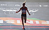 Shalane Flanagan, 2017 NYC Marathon women's winner, crosses the finish line in Central Park to take third place in the New York City Marathon on Sunday, Nov. 4, 2018. She finished in third place.