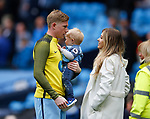 Kevin De Bruyne of Manchester City with his son Mason and partner Michele Lacroix before the English Premier League match at the Etihad Stadium, Manchester. Picture date: May 13th 2017. Pic credit should read: Simon Bellis/Sportimage