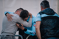 Belgian National coach Kevin De Weert hugging Brent Van Moer (BEL/Lotto-Soudal) after winning the silver medal<br /> <br /> MEN UNDER 23 INDIVIDUAL TIME TRIAL<br /> Hall-Wattens to Innsbruck: 27.8 km<br /> <br /> UCI 2018 Road World Championships<br /> Innsbruck - Tirol / Austria