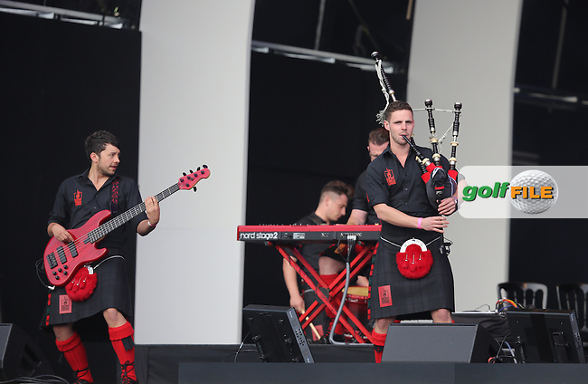 The Red Hot Chili Pipers perform during the Opening Ceremony on Thursday at the 40th Ryder Cup, The Gleneagles Hotel, Perthshire from 26th to 28th September 2014<br /> Picture Kenneth Dennis, www.golffile.ie