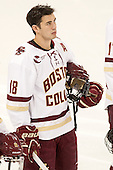 Michael Sit (BC - 18) - The Boston College Eagles defeated the visiting University of New Brunswick Varsity Reds 6-4 in an exhibition game on Saturday, October 4, 2014, at Kelley Rink in Conte Forum in Chestnut Hill, Massachusetts.
