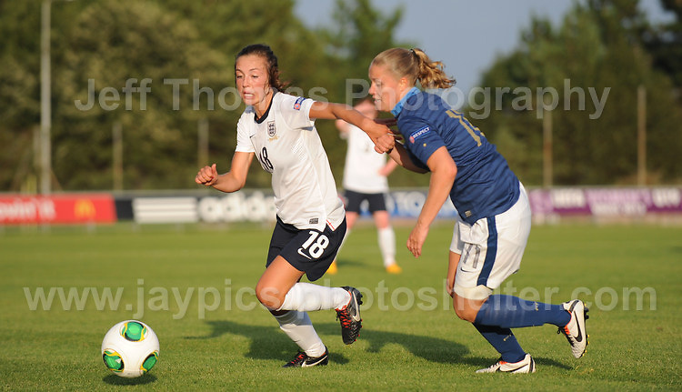 Katie Zelem of England tackles Lea Declercq of France   during the UEFA Womens U19 Championships at Stebonheath Park, Llanelli  Monday 19th August 2013. All images are the copyright of Jeff Thomas Photography-www.jaypics.photoshelter.com-07837 386244-Any use of images must be authorised by the copyright owner.