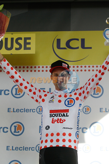 Tim Wellens (BEL) Lotto-Soudal retains the Yellow Jersey at the end of Stage 11 of the 2019 Tour de France running 167km from Albi to Toulouse, France. 17th July 2019.<br /> Picture: Colin Flockton | Cyclefile<br /> All photos usage must carry mandatory copyright credit (© Cyclefile | Colin Flockton)