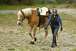 Rider walking with horse
