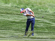 Potomac, MD - June 30, 2018:  Rickie Fowler (USA) hiits the ball from the ruff during Round 3 at the Quicken Loans National Tournament at TPC Potomac in Potomac, MD, June 30, 2018.  (Photo by Elliott Brown/Media Images International)