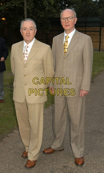 GILBERT & GEORGE.Serpentine Gallery summer party, Hyde Park, London, .9th July 2002..full length artists.Ref:PL.© Capital Pictures.sales@capitalpictures.com.www.capitalpictures.com.