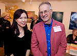 CHESHIRE, CT-011218JS12---Hannah Jung, Executive Director of The Voice Art Gallery and Studio and Dr. John Hennelly, Chairman of the foundation, at the grand opening of The Voice of Art Gallery and Studio in Cheshire. <br /> Jim Shannon Republican-American