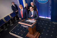 United States Secretary of the Treasury Steven T. Mnuchin delivers remarks on the COVID-19 (Coronavirus) pandemic alongside US President Donald J. Trump and members of the Coronavirus Task Force in the Brady Press Briefing Room at the White House in Washington, DC, March 25, 2020, in Washington, D.C. <br /> Credit: Sarah Silbiger / Pool via CNP/AdMedia