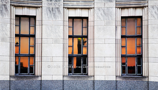 The Sunset Reflectrf In The Windows Of The Cincinnati Museum Center At Union Terminal, Cincinnati Ohio USA