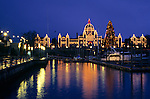 Victoria, Vancouver Island, BC<br /> Victoria Harbour with the reflecting winter lights of the Parliment building at dusk