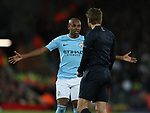 Fernandinho of Manchester City questions the referee during the Champions League Quarter Final 1st Leg, match at Anfield Stadium, Liverpool. Picture date: 4th April 2018. Picture credit should read: Simon Bellis/Sportimage