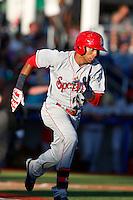Chris Garira #3 of the Spokane Indians runs the bases during a game against the Hillsboro Hops at Hillsboro Ballpark on July 22, 2013 in Hillsboro Oregon. Spokane defeated Hillsboro, 11-3. (Larry Goren/Four Seam Images)