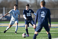 NWA Democrat-Gazette/CHARLIE KAIJO Bentonville West High School Mohamad Alkhatib (22) dribbles during a soccer game, Friday, March 15, 2019 at Bentonville West in Centerton.