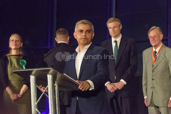 Sadiq Khan, the new London Mayor, at the results announcement in London's City Hall, May 07, 2016. L-R Sian Berry Green Party, (back to Khan) Paul Golding Britain First, Sadiq Khan Labour, Zac Goldsmith Conservative and Lee Harris Canabis is Safer Than Alcohol.  <br /> CAP/CAM<br /> &copy;CAM/Capital Pictures /MediaPunch ***NORTH AMERICAN AND SOUTH AMERICAN SALES ONLY***