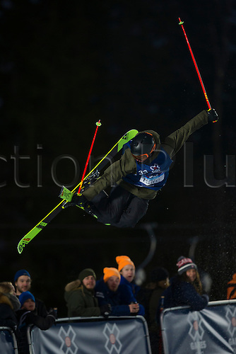 28.02.2016. Wyller Oslo Winter Park, Oslo, Norway. Red Bull X Games. Men's Ski SuperPipe Final.  Kyle Smaine of United States  soars high above the crowd during the Red Bull X Games Oslo 2016 at the Wyller Oslo winter park in Oslo, Norway.
