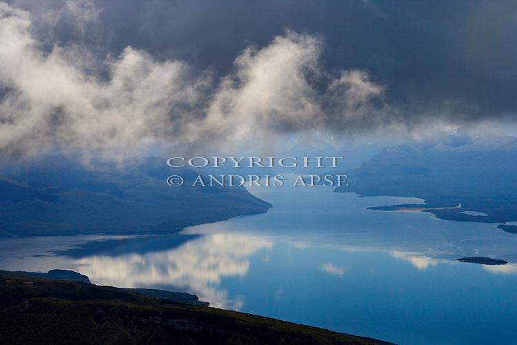 Aerial view of Lake Te Anau. Fiordland National Park. New Zealand.