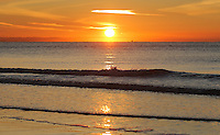 WEATHER PICTURE WALES<br /> Pictured: The sun rises over the sea in Swansea Bay in Wales, UK. Wednesday 30 November 2016<br /> Re: Low temperatures with sunshine in most parts of the UK