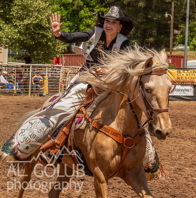 2018 Mother Lode Round-up Queen Rachel Snitchier at the 62nd annual Mother Lode Round-up on Sunday, May 12, 2019 in Sonora, California.  Photo by Al Golub